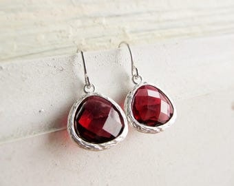 Garnet Earrings Silver, Dangle Earrings with January Birthstones, Dark Red Drops, January Birthday Gift for Her, Valentine's Day Jewelry