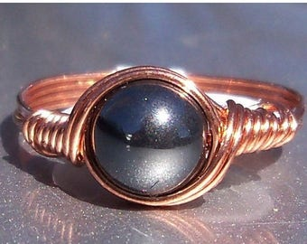 25% Off Sale Hematite Copper Wire Wrapped RIng