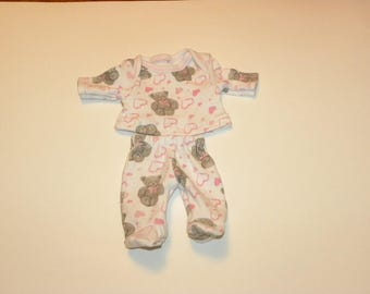 Teddy Bear Patterned Footed Pajamas - 12 inch doll clothes