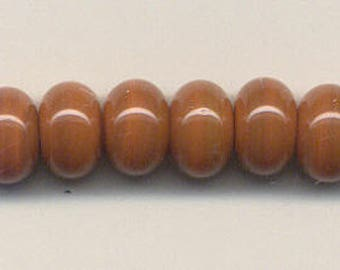 10mm, Tom's lampwork opaque apricot jam 12 spacers bead set 95651