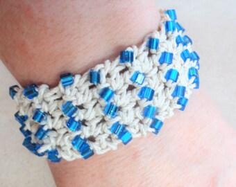 Handmade Crocheted Hemp Bracelet with Blue Beads By Distinctly Daisy