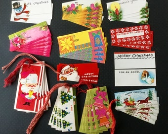 Vintage Christmas Gift Tags, Some With Strings, And Stickers
