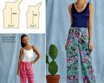 Mother and Daughter Tie Front Pants Pattern, One Piece Pants Pattern, Simplicity Sewing Pattern 8390