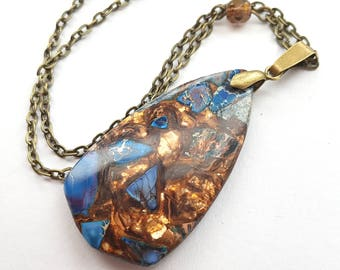 Gold Foiled Dark Blue Necklace, Faux Jasper Geometric Teardrop Necklace, Bronze Chain, Boho Necklace, Glass Crystal Detail