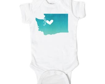 Seattle Heart State Map Baby Onesie