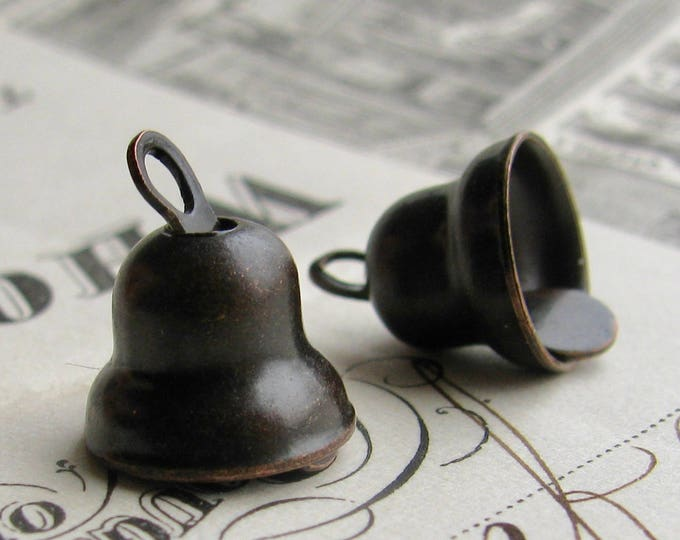 Little bell charm, 10mm, black patina antiqued brass (2 charms) black bell charm, black brass bell
