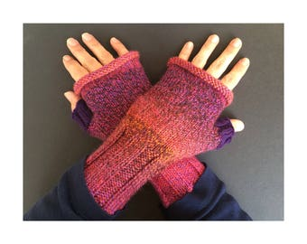 Fingerless Gloves - Hand-Knit Gloves - Women's Fingerless Gloves - Half Gloves  - Red and Purple - Women's Winter Gloves - Holiday Gift