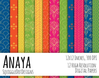 Hand Drawn Digital Printable Background Paper for Web Design, Crafts, and Scrapbooking Set of 12 - Anaya - in Blues, Yellow, and Gold