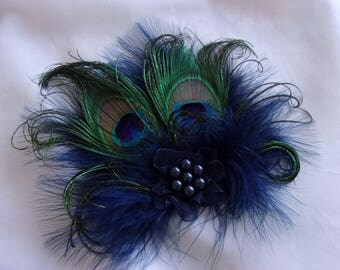 Navy Blue Burlesque Style Victoriana Peacock Fluff Feather Wedding Fascinator Hair Clip Headpiece - Made to Order