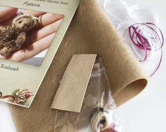 Complete miniature teddy bear sewing KIT,  for making mini bear, down teddy bear,  how to make a teddy bear step by step, easy to follow