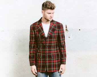 Men's 60s Mod Sport Coat Jacket . Plaid Mad Men Blazer Check Print Red Green Jacket Suit Jacket . size Medium
