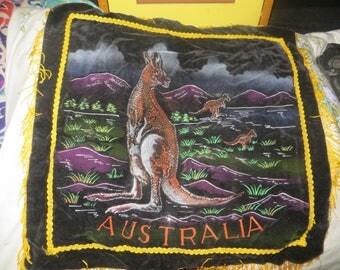 Vintage Australia Painted Velvet Art  fringe  Pillow Cover Souvenir Wall Hanging kangaroo