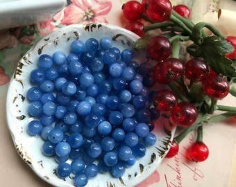 Maine Blueberries Beads, Vintage Beads, blueberry Beads,  6mm glass Beads , New England low Bush Blueberries, Farmers Market Earrings #B140A