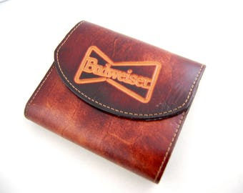 1970s Budweiser Wallet - Vintage Trifold Leather Mens Wallet - Beer Advertising - Vintage Budweiser