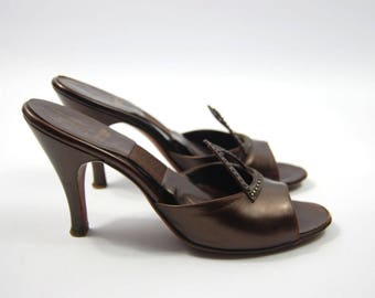 size 7 1950s Springolators // Chocolate Brown Leather - rhinestone mules backless pumps Shoes