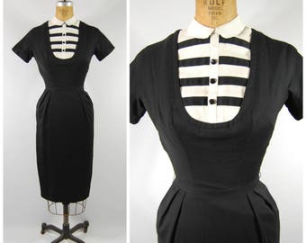 1950s Black and White Wiggle Dress / Mam'selle by Betty Carol / Bib Neckline Size Small - Sheath Dress - Short Sleeved Black Cotton