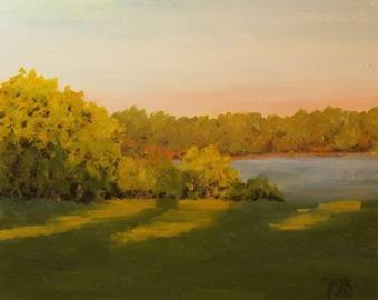 "Landscape painting,  sunset, lake paintings, original oil, 8"" x 10"""