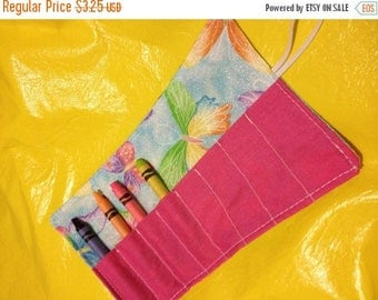 Sale Late summer SALE Crayon roll butterfly on blue More crayon rolls in my shop