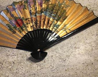 Rare Golden Hand Painted Bird Paper Fan • Large Accessory Fan