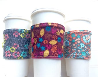 Coffee Cup Cozy, Mug Cozy, Coffee Cup Sleeve, Cup Cozy, Cup Sleeve, Reusable Coffee Sleeve - Fall Florals [99-100]