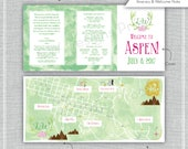 Custom Wedding Map with Itinerary, Wedding Map Invitation, Infographic, Wedding Directions (Tri-Fold) Aspen, Colorado - Listing for Laura