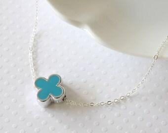 Blue Quatrefoil Necklace - Four Leaf Flower Necklace - Blue Flower Necklace - Celebrity Inspired - Famous Brand - Four Petal Flower Necklace