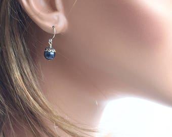 Swarovski Pearl Earrings, Dark Blue Crystal Pearl, Everyday Earrings, Simple Earrings, Swarovski Earrings, Blue Earrings, Dainty Earrings