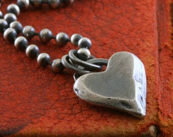 Sterling Silver Heart Necklace, Heavy Chain, Rustic Heart, Custom Chain Length, Chunky Chain, Mens Womens Oxidized Silver Necklace