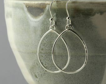 Silver Hoop Earrings, Simple Teardrop Hoops, Everyday Earrings, Sterling Silver