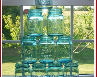 10 GENUINE Vintage Blue Ball Mason Jars PINT size