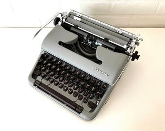 Slate Grey Olympia SM4 Typewriter - Annie - Professionally Serviced - extra ribbon included