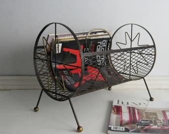 Atomic Starburst metal magazine rack - mid century wire magazine rack - Mid-Century Modern -Franciscan Starburst