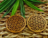 Tribal Round Wood Earrings | Wooden Earrings Natural Stained Wood