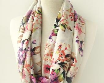 Floral Infinity Scarf - Loop scarf - Cotton Scarves - Rose Circle Scarf