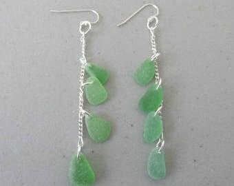 Long Dangle Earrings, Sea Glass Jewelry, Sea Glass Earrings, Long Green Earrings, Beach Glass Earrings, Dangle Earrings, Drop Earrings