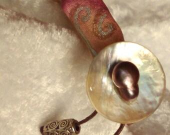 bracelet soie peinte perle de culture polynésie