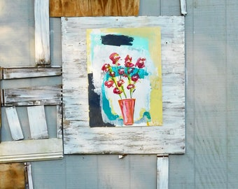 Floral Art, Abstract Art, Floral Art, Whimsical Art, Wall Art, Acrylic Painting, Rustic Painting, Home Decor, Christmas Gift, Farmhouse