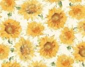 SALE Bee My Sunshine Cream Sunflowers - Sunflower Fabric - Windham Fabrics 43315-3 - 1 Yard Cut BTY - Tossed Sunflowers