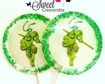 Teen Mutant Turtles Inspired Lollipops- Hard Candy Lollipops- Teen Mutant Birthday- Party Favors