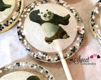 Fighting Panda Lollipops- Kung Fu Party Favors-Hard Candy Lollipops  Panda Lollipops- Wedding favors- Bridal shower favors- Baby Shower