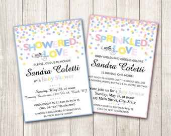 Confetti Baby Shower or Sprinkle Invitation / Pink Blue Boy Girl Gender Reveal Diaper Raffle Book Card Favor Tag Place Cards Thank You Games