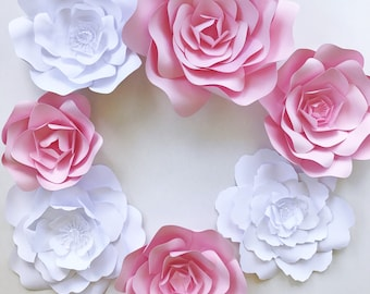 Pink and White Paper Flower Wall Decor, Ready To Ship paper flowers for parties, events or home decor. Nursery wall art paper flowers