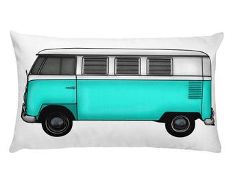 VW Bus Decor - Turquoise VW Camper Van Throw Pillow - Camping Decoration - Gift for Camping Lover - Classic Car Gift Idea - Kids Car Pillow