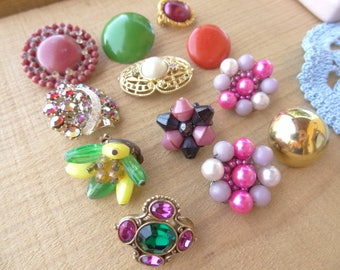 Pink, Pearl, Gold Tone, Coral, Green, Purple, Rhinestone Flower Earring Clip Destash Lot E24