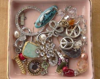 Tiny Jewelry Findings - Vintage Jewelry - Tiny Craft Lot - Rhinestone Pendant - Heart - Beaded Drops - D103