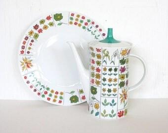Mid century teapot by Rosenthal. Continental teapot, Piemonte teapot, Emilio Pucci, floral teapot, retro teapot, fine porcelain teapot