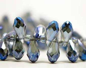78pcs Teardrop Crystal Faceted Glass beads 7x15mm Montana Blue Sparkly Briolette (#HS0706)