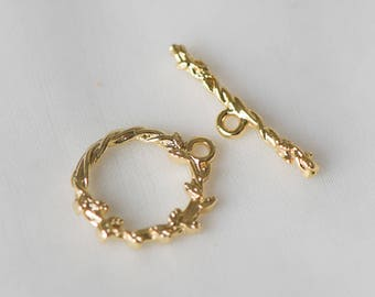 10pcs Gold Flower Toggle Clasp, 24K Real Gold plated Brass, Floral Close Clasp 15mm Round (#GB-109)