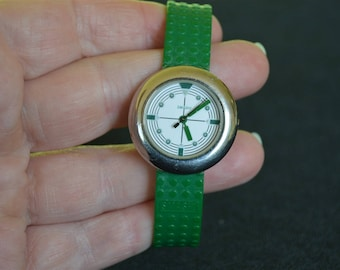 Vintage Smash Wrist Watch 1980's Silver Chome Metal with Green Plastic Watch Band
