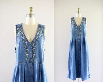 ON SALE embroidered denim market dress